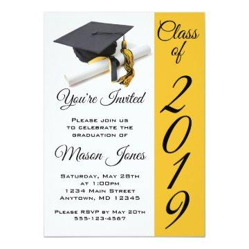 Black and Gold Yellow Graduation Cap and Tassel Invitation