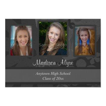 Black and Grey Photo Graduation Party Invitation