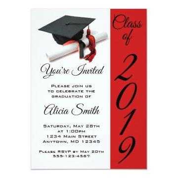 Black and Red Graduation Cap and Tassel Invitation