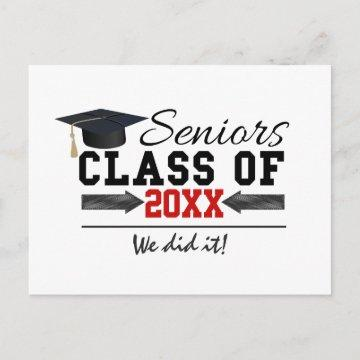 Black and Red Graduation Gear Announcement Postcard