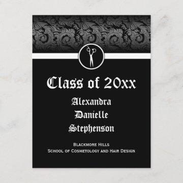 Black and White Cosmetology School Graduation Invitation