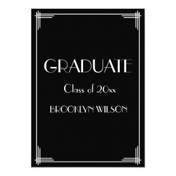Black Art Deco Graduation Party