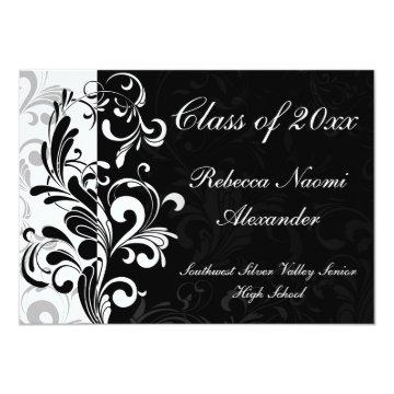 Black Background Scroll Graduation Announcement