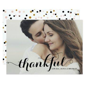 Black Calligraphy Script Photo Wedding Thank You Card