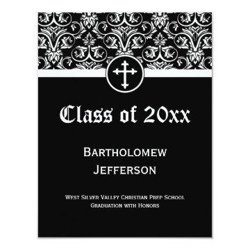 Black Cross Christian Graduation Announcement