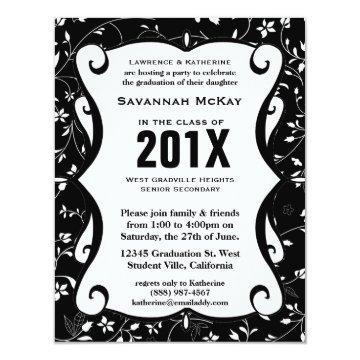 Black Floral Pattern Scroll Graduation Party Card