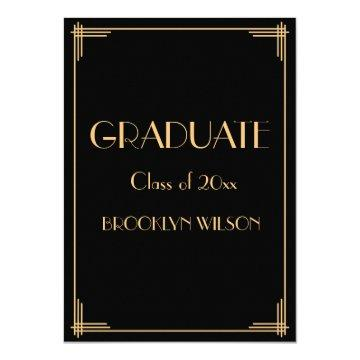Black Gold Art Deco Graduation Party