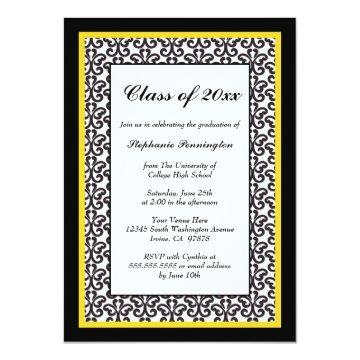 Black gold damask graduation party announcement