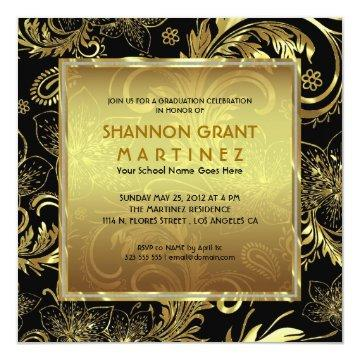 Black Gold & Diamonds Pattern-Elegant Grad Invite
