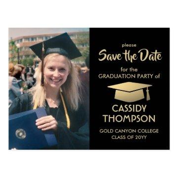 Black Gold Graduate Photo Graduation Save the Date Postcard