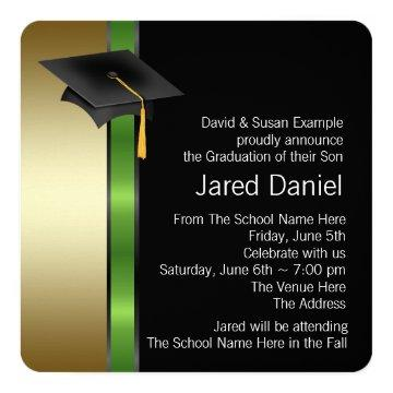 Black Gold Green Photo Graduation Announcemen Card