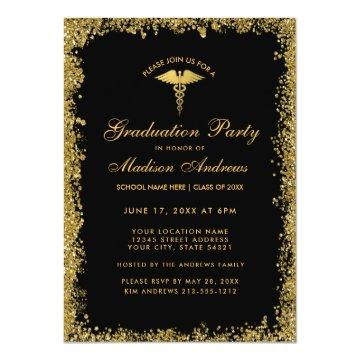 Black Gold Medical Graduation Party Invite