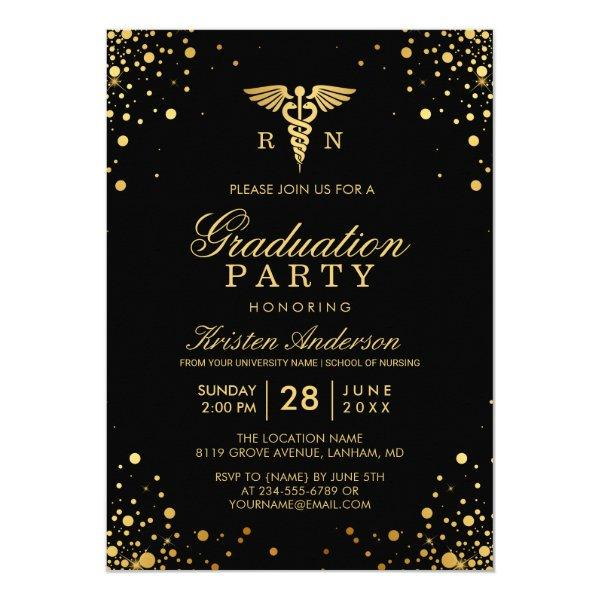 Black Gold Medical Nursing School Graduation Party Card