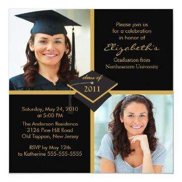 Black & Gold Photo Graduation Invitation