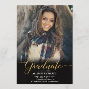 Black gold photo graduation party, modern elegant invitation
