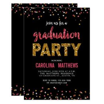 Black Gold Pink Confetti Graduation Party Invite