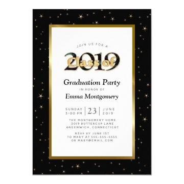 Black Gold Stars Class of 2019 Graduation Party Invitation
