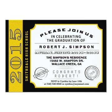 Black & Gold Ticket Graduation Invitation