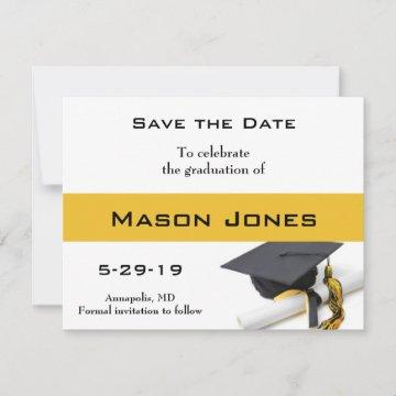Black Gold Yellow Graduation Cap and Tassel Custom Save The Date