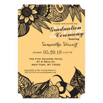 Black & Golden Yellow Floral Tangle Drawing Invitation