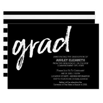 Black Grad Striped Modern Graduation Announcement