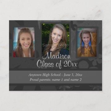Black & Grey Three Photo Graduation Save the Date Announcement Postcard