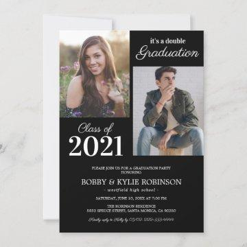 Black Joint Graduation Party Invitation