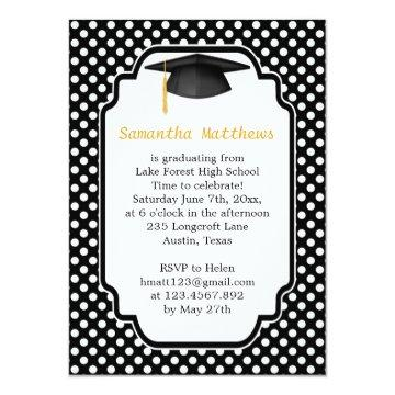 Black mortar, polka dot Graduation Party Invite