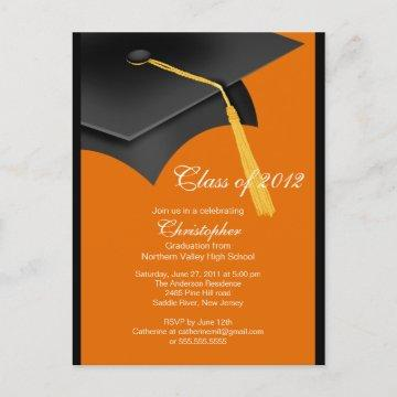 Black Orange Grad Cap Graduation Party Invitation