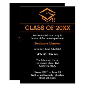 Black Orange Mortarboard Simple Graduation Party Invitation