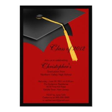 Black Red Grad Cap Graduation Party