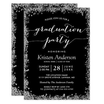 Black Silver Glitters Typography Graduation Party Card