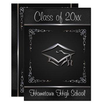 Black Silver Graduation Invitations
