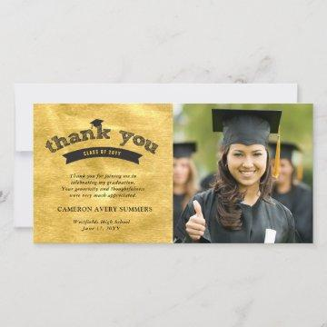 Black Sketch Text On Gold Foil Graduation Photo Thank You Card