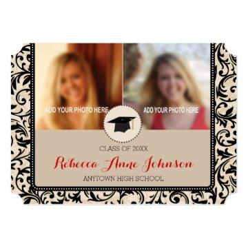 Black Swirl Damask on Tan, 3 Photo Graduation Card