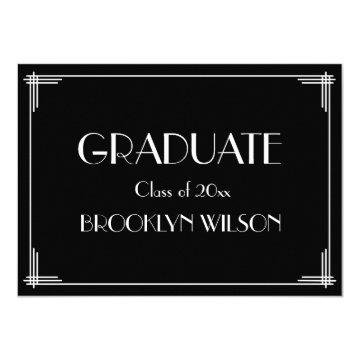 Black White Art Deco Graduation Party