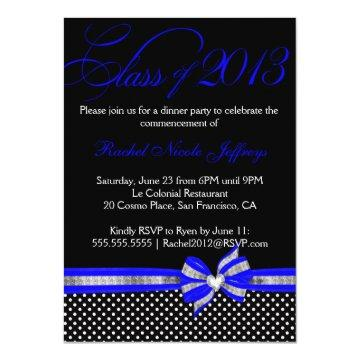 Black White Blue Polka Dot Graduation
