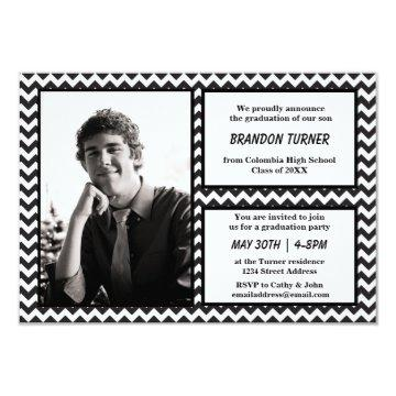 Black/White Chevron w/ Photo-3x5 Grad Announcement