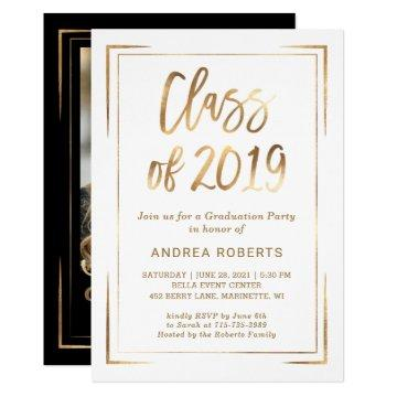 Black White Gold Class of 2019 Graduation Party Invitation