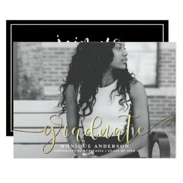 Black White & Gold Script | Graduate Photo Party Card