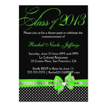 Black White Green Polka Dot Graduation