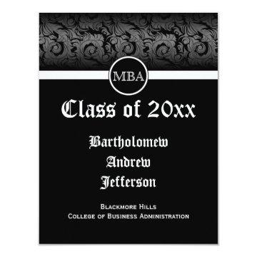 Black/White MBA Business Grad School Graduation Card
