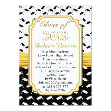 Black white mortar cap Graduation Party Invitation