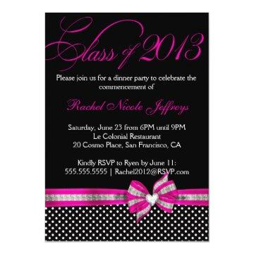 Black White Pink Polka Dot Graduation