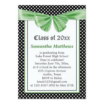 Black white polka dot ribbon Graduation