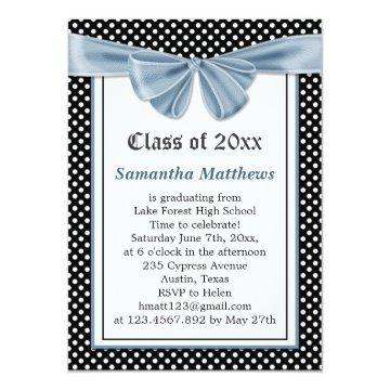 Black white polka dots printed ribbon Graduation Card