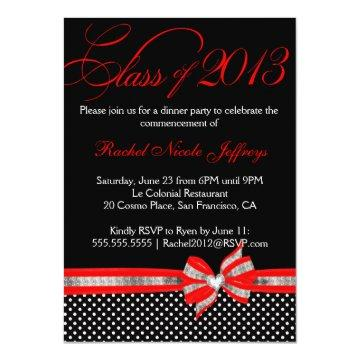 Black White Red Polka Dot Graduation