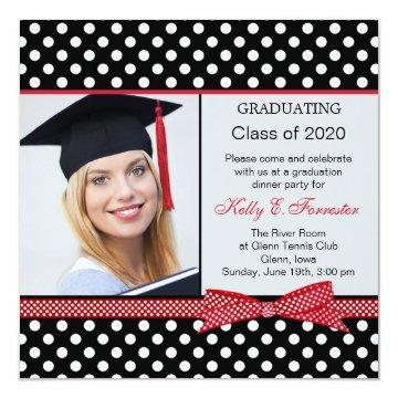 Black, white, red polka dot Graduation party photo Card