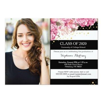 Black white stripes, pink floral photo graduation invitation