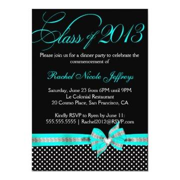 Black White Teal Polka Dot Graduation